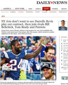 Image of Jets Cornerback Darrelle Revis in a Patriots Jersey ru…