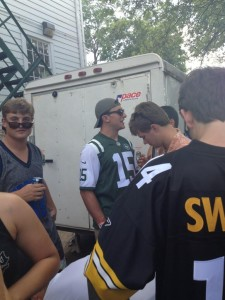Johnny football sporting a Tebow Jets Jersey  Photo by Sydney Davis twitter