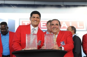 Tedy Bruschi and Gil Santos Photo by Keith Nordstrom