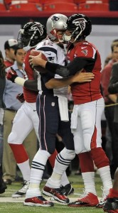 QB Tom Brady and Matt Ryan before the game Photo by: Keith Nordstrom