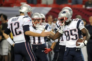 Tom Brady and Kenbrell Thompkins Photo by: Keith Nordstrom