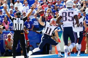 Julian Edelman celebrating his TD Photo By Bill Wippert (AP Photo)