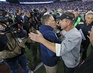 Two great coaches congratulate each other after game. Photo by: David Silverman