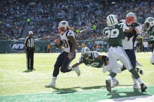 Brandon Bolden in for the TD. Photo by: Keith Nordstrom