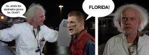 Gronk is confused about time traveling.  Photo from Toucher and Rich Facebook Page