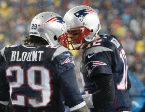 LeGarrette Blount celebrates with Tom Brady after a touchdown run Photo By: AP