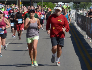 Bill Belichick and Lina Hollida running in the St. Jude Country Music Nashville Marathon & ½/ Marathon presented by Nissan!  Getty Images (Rick Diamond)