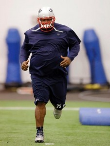 Vince Wilfork working his way back from a season ending injury a year ago. Photo By: AP