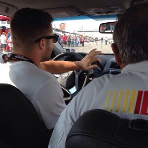 Julian Edelman in the pace car. Photo From NH Speedway Twitter.