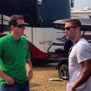 Julian Edelman chatting it up with driver Kyle Busch. Photo From NH Speedway Twitter