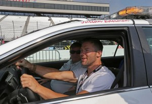 Edelman getting instructions on how to drive the pace car! Photo By: BARRY CHIN/GLOBE/STAFF