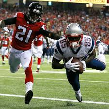 Kenbrell Thompkins catches a touchdown pass against the Falcons last season. (Photo By Kevin C. Cox/Getty Images)