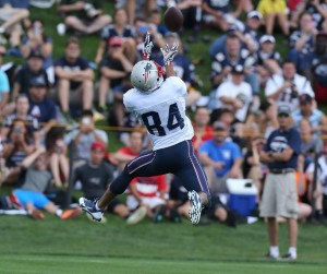 Brian Tyms makes a leaping catch during training camp (Photo By David Silverman)
