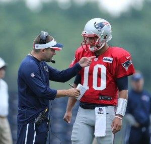 Jimmy Garoppolo and Josh McDaniels (Photo By David Silverman)
