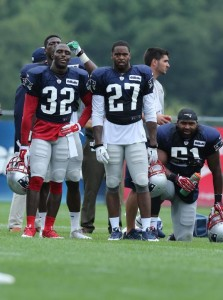 Devin McCourty, Tavon Wilson, and Jerod Mayo (Photo By David Silverman)