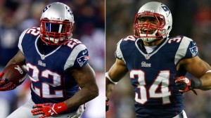 Stevan Ridley (Left), and Shane Veeren (Right).  (Photos by Jared Wickerham/Elsa/Getty Images)