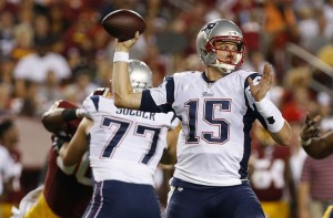 Ryan Mallett throws a pass against the Redskins Thursday Night.  (Photo By Geoff Burke)