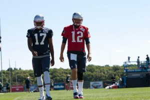 Aaron Dobson and Tom Brady (Photo By Martin Morales)