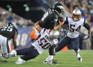 Rob Ninkovich finished with two sacks of Nick Foles last night (Photo By: Keith Nordstrom)
