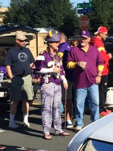 Fan wearing an Adrian Peterson Jersey while holding a switch. (Photo By Kim Johnson, a WCCO This Morning Anchor/Reporter)