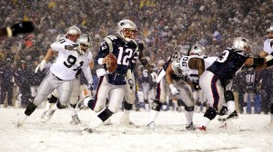 The Patriots defeated the Raiders in a snow filled playoff game in 2001.