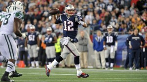 Tom Brady was throwing on the run last Thursday, and was pretty good. (Photo By: Keith Nordstrom)
