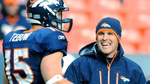 Josh McDaniels with Tim Tebow back during their Denver days. (Photo By: Ron Chenoy/US Presswire)