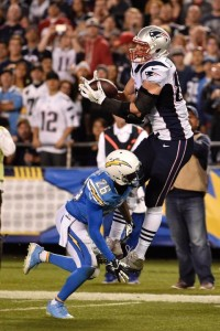 Gronk goes up and over for the touchdown. (Photo From Patriots.com)