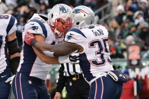 Gray celebrates his touchdown run. (Photo From Patriots.com)