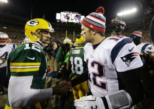 Tom Brady and Aaron Rodgers after the game. (Photo From Patriots.com)