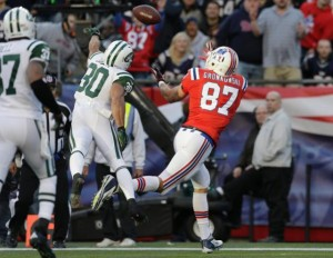 Gronk makes a great catch against the Jets in 2012.  (Photo By: Elise Amendola)