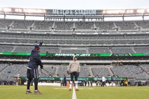 Tom Brady before yesterday's win against the Jets. (Photo By: Keith Nordstrom)