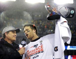 Tom Brady during the post game celebrations. (Photo From Patriots.com)