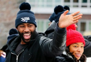 Darrelle Revis enjoyed the parade. (Photo From Patriots.com)
