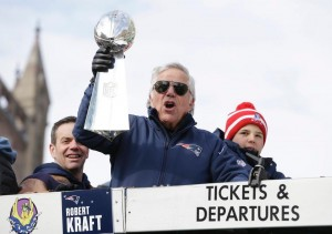 Robert Kraft celebrates on the duck boat. (Photo From Patriots.com)
