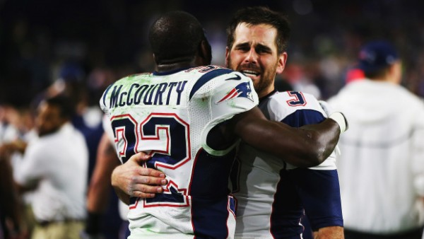 Stephen Gostkowski and Devin McCourty celebrate the Super Bowl win. (Photo by Elsa/Getty Images)