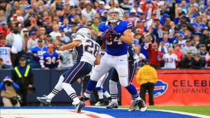 Scott Chandler won't be catching touchdown passes against the Patriots anymore, he will catching it for them.