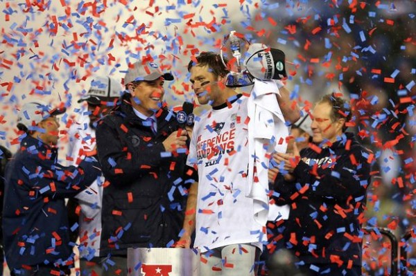 Tom Brady celebrating Super Bowl win number Four.  (Photo From Getty Images.)