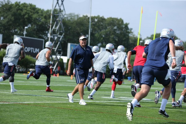 Belichick coaches them up during practice. (Photo By: David Silverman)
