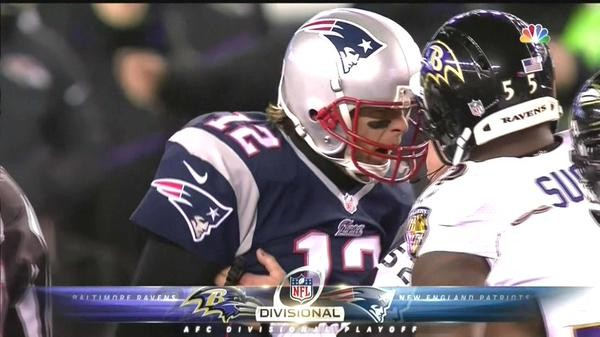 Tom Brady angry during the Pats divisional win over the Ravens after being poked in the eye. (Photo From CBS)