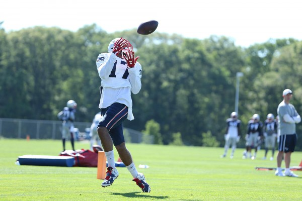 Aaron Dobson makes a leaping catch during camp. (Photo By: David Silverman)
