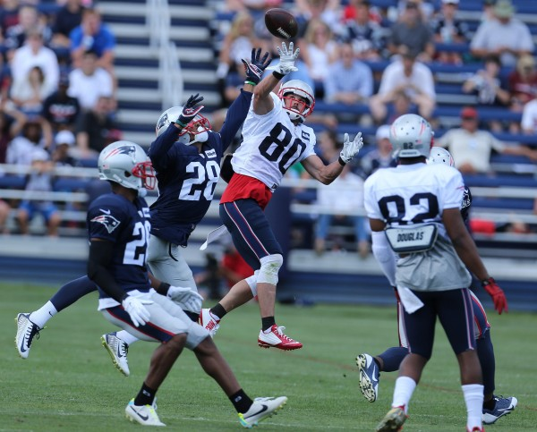 Danny Amendola goes up for the catch. (Photo By: David Silverman)