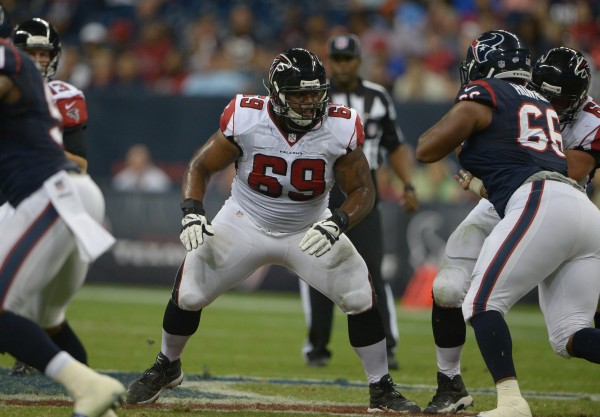Aug 16, 2014; Houston, TX, USA; Atlanta Falcons guard Harland Gunn (69) against the Houston Texans at NRG Stadium. The Texans defeated the Falcons 32-7. Mandatory Credit: Kirby Lee-USA TODAY Sports
