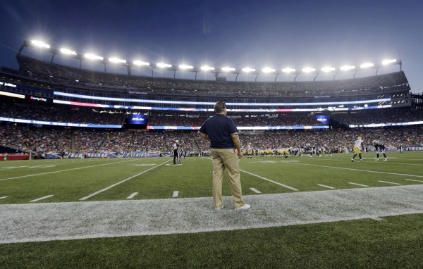New England Patriots head coach Bill Belichick watches action from the sideline in the first half of an NFL preseason football game against the Green Bay Packers Thursday, Aug. 13, 2015, in Foxborough, Mass. (AP Photo/Charles Krupa)