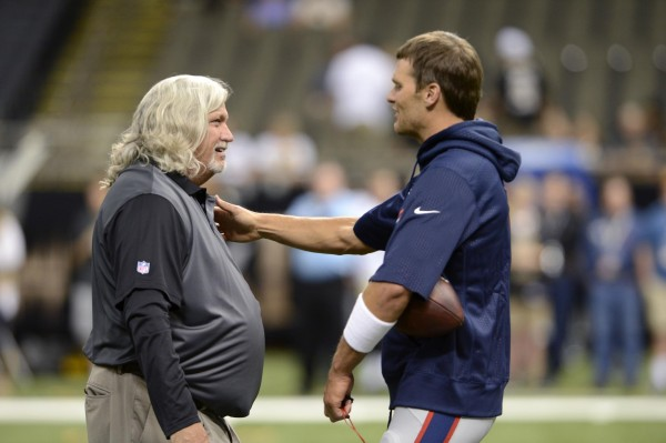 Tom Brady chats with Rob Ryan before the game. (Photo By: Bill Feig)