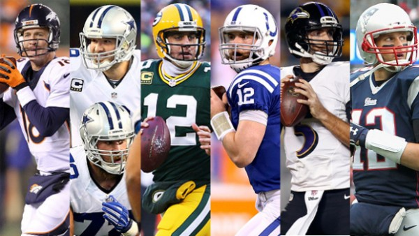 Manning, Romo, Rodgers, Luck, Flacco, and Brady. (Photo From CBS Dallas)