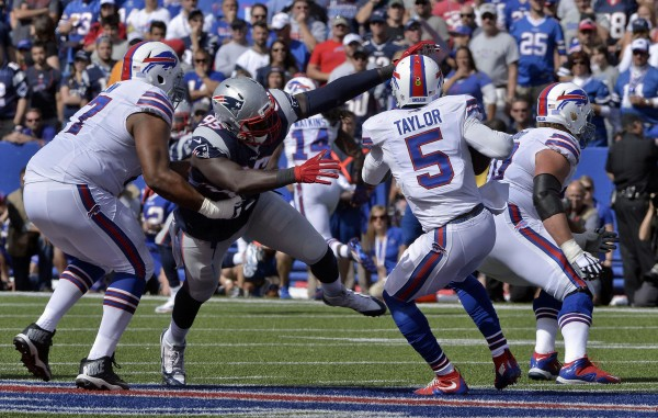 Chandler Jones tallied 3 sacks against Buffalo. (Photo by: Keith Nordstrom)