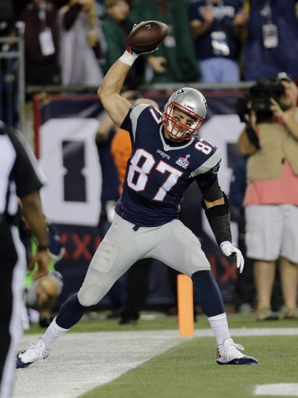Gronk spike was in full force last night. (Photo By: AP, CHARLES KRUPA)