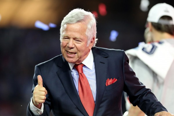 Robert Kraft is one happy guy after hearing Tom Brady will be playing the first four games of the season after all.  (AP Photo/Gregory Payan)