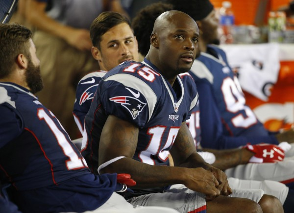 Reggie Wayne sits between Julian Edelman and Danny Amendola. (Photo By: WINSLOW TOWNSON)